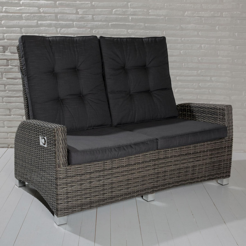 2Sitzer Gartensofa Barcelona Graumix Loungesofa Sofa Gartenmöbel von Polyrattan Sofa 2 Sitzer Bild