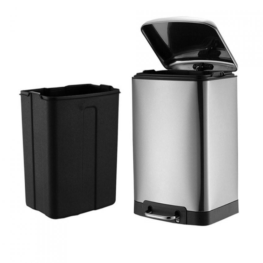 30 Liter Treteimer Küche Softclose Abfalleimer Mülleimer Edelstahl von Tretmülleimer Küche Photo