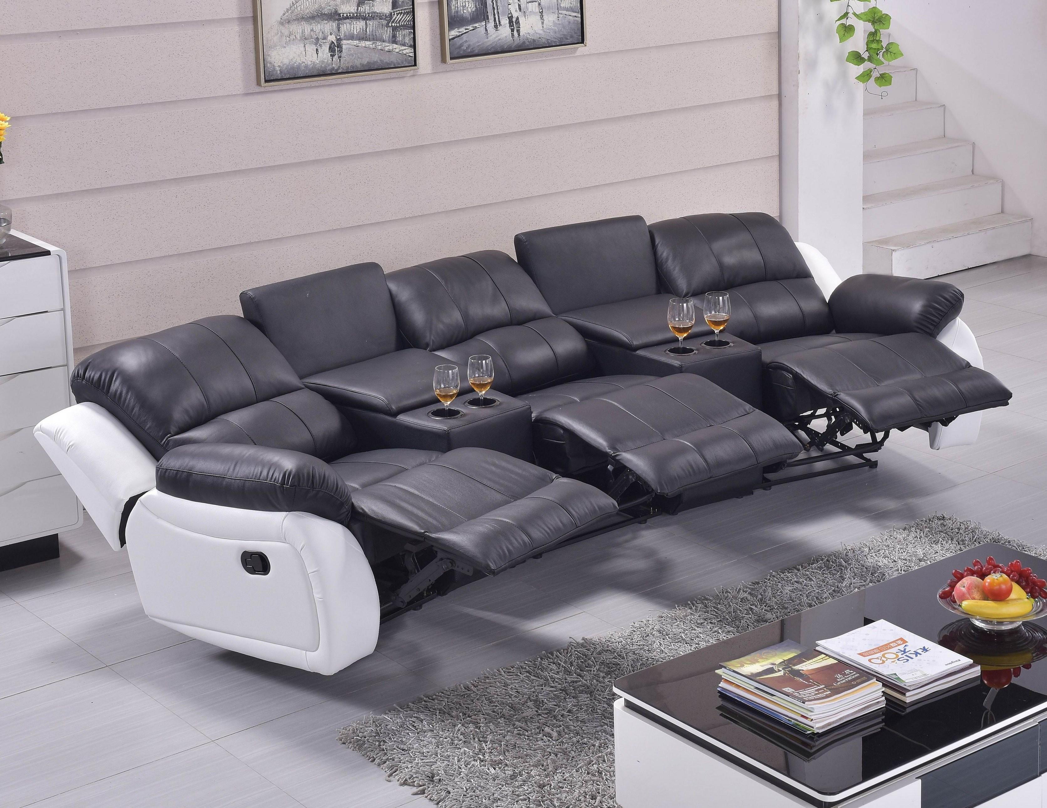 3Er Leder Fernsehsofa Kinosofa Schwarzweiß  Mapo Möbel von Kino Sofa 3 Sitzer Bild