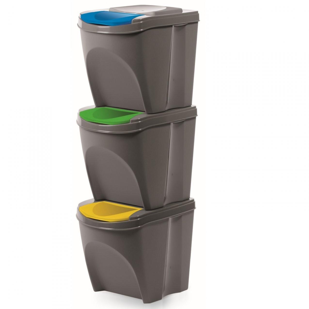 3Er Set Mülleimer Küche (60 Liter 3X20L) Behälter Papierkorb von Abfalleimer Küche 60 Liter Bild