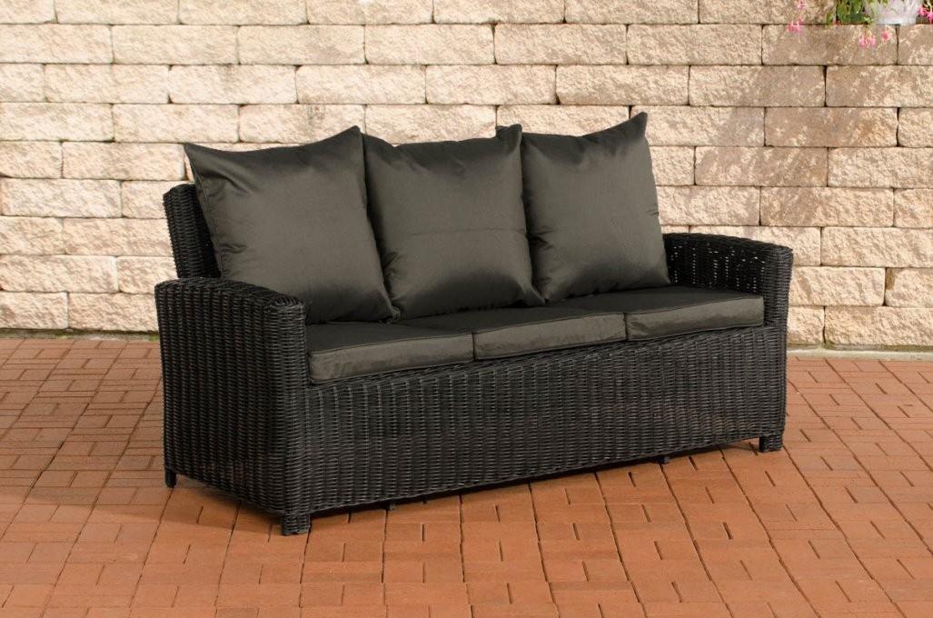 3Er Sofa Cp042 3Sitzer Polyrattan  Kissen Anthrazit Schwarz von Polyrattan Sofa 3 Sitzer Bild
