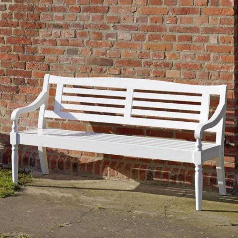 3Sitzer Bank Weiss Gartenbank Sitzbank Outdoorbank Mahagoni von Weiße Gartenbank Holz Bild