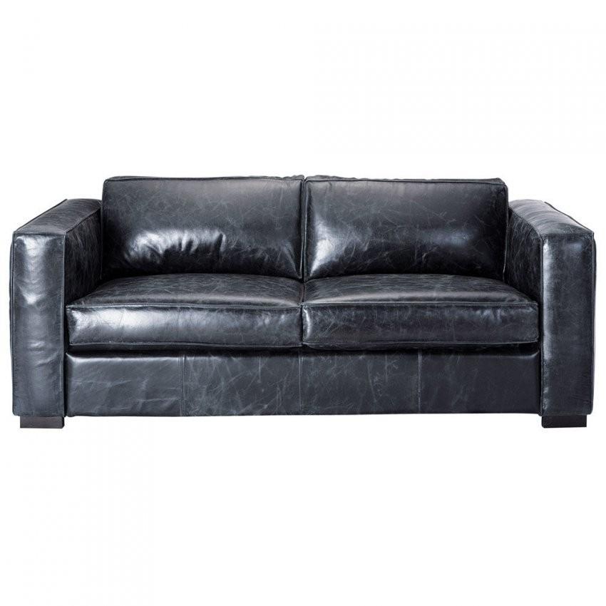 Ausziehbares 3Sitzer Sofa Aus Leder Schwarz Berlin  Maisons Du Monde von Sofa Leder Schwarz 3 Sitzer Bild