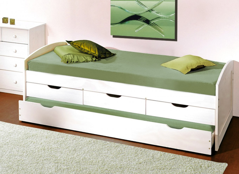 Ausziehbett In Weiß Auch Als Gästebett Geeignet  Leon von Bett Mit Gästebett Und Schubladen Bild