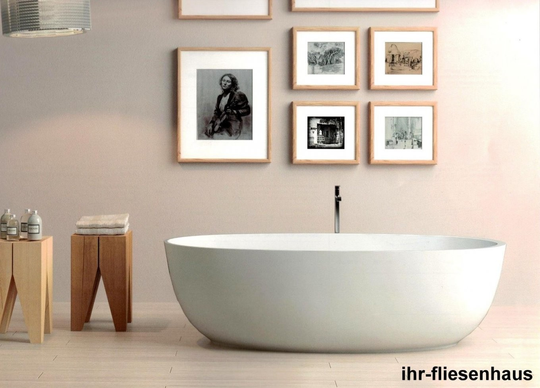 Badewanne Freistehend Oval Aus Mineralmarmor 169X80X50Cm Weiß Euro von Ovale Badewanne Freistehend Photo