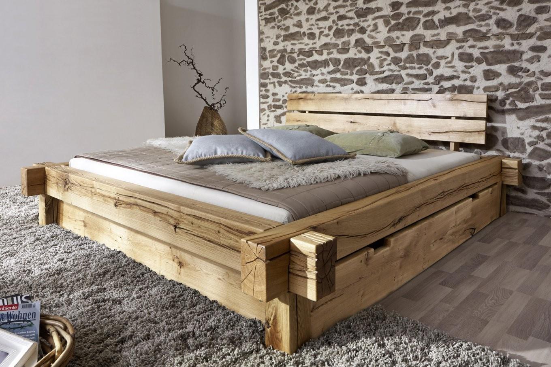 Balkenbett 200X200 Massivholzbett Mit Bettkasten Wildeiche Jonas von Massivholz Bett 200X200 Bild