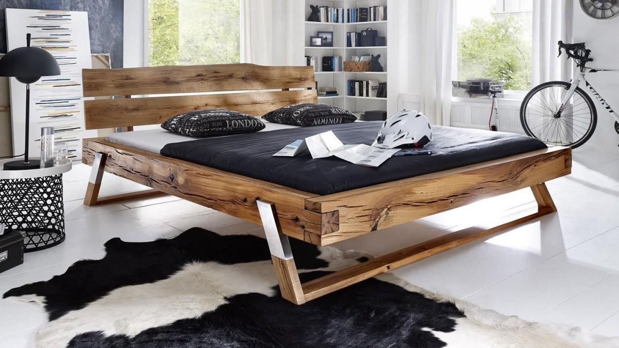 Balkenbett Gojo Bett In Wildeiche Massiv Geölt Füße Edelstahl von Bett Eiche Massiv 180X200 Bild