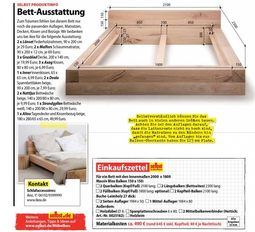 Balkenbett  Selbst von Bett Selber Bauen Anleitung 180X200 Photo
