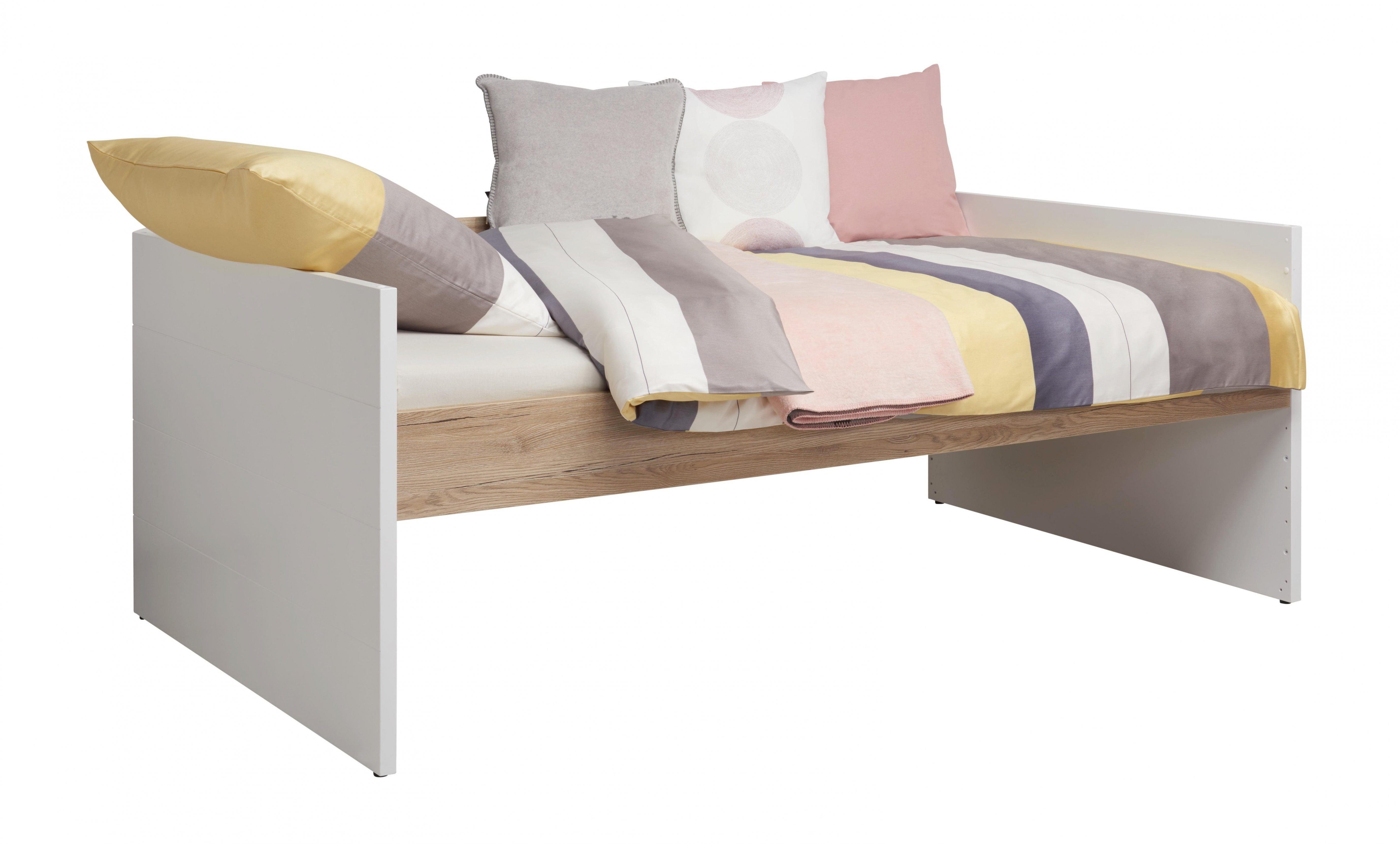 Bett 120 Cm X 200 Cm In Holzwerkstoff Eichefarben Weiß Online von Paidi Bett 120X200 Bild