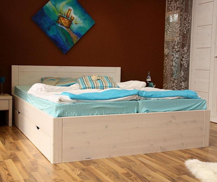 Bett 140X200 4 Schubladen Komforthöhe 45Cm Kiefer Massiv Weiß Lasiert von Bettgestell 140X200 Weiß Holz Bild