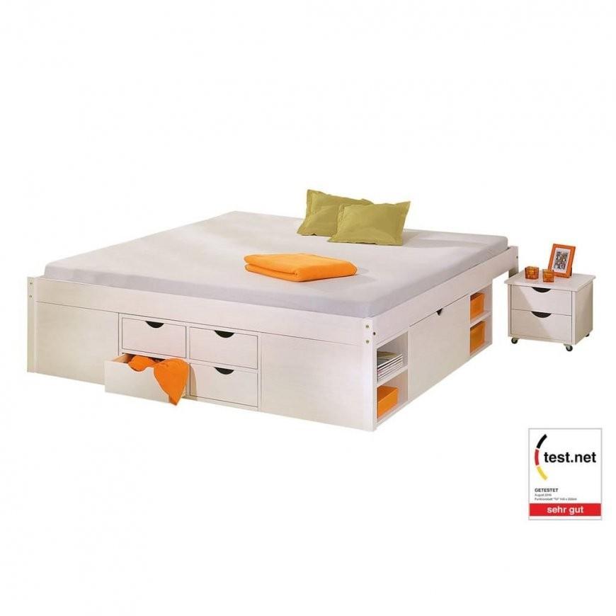 Bett 140X200 Cm Doppelbett Stauraumbett Funktionsbett Weiß Rost Kiefer  Massiv von Bett Mit Stauraum 140X200 Photo
