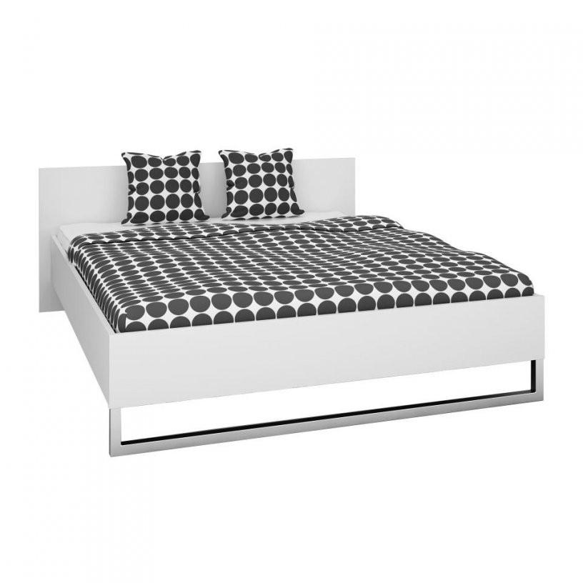 Bett 140X200 Cm In Weiß  Bettgestell Preiswert Kaufen  Dänisches von Metall Bettgestell 140X200 Bild