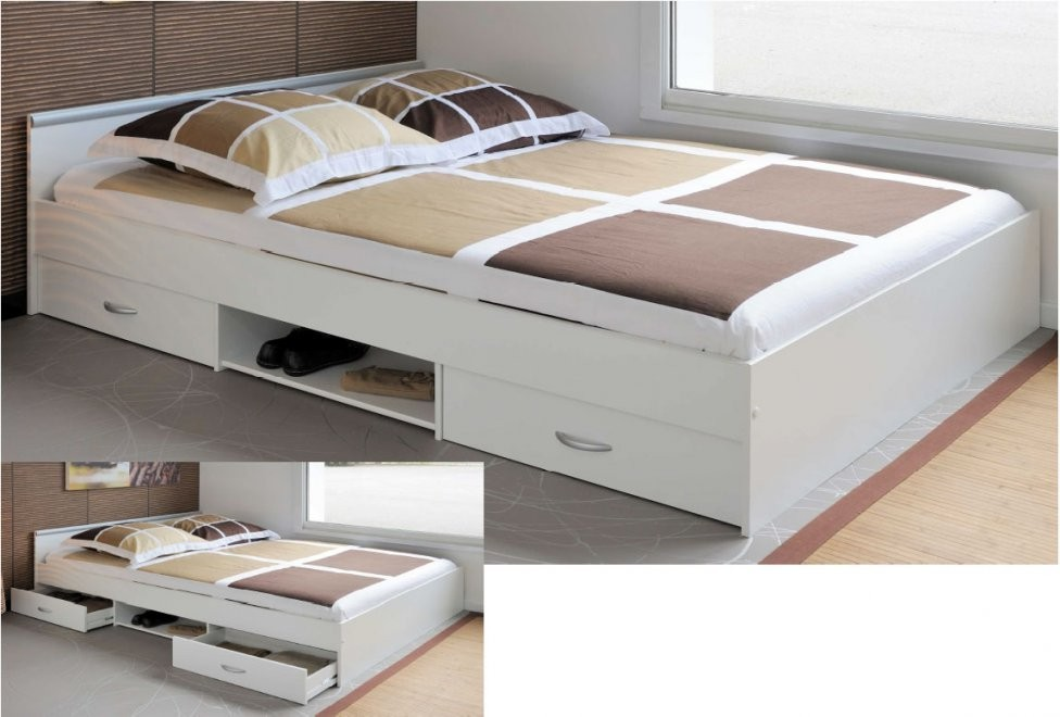 Bett 140X200 Weis X Hochglanz Mit Bettkasten Lattenrost Hoch von Bett 140X200 Hoch Bild