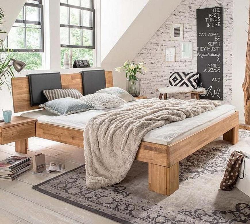 Bett 160X200 Kopfteil Mit Lederpolster Wildeiche Massiv Geölt von Bett 160X200 Massivholz Bild