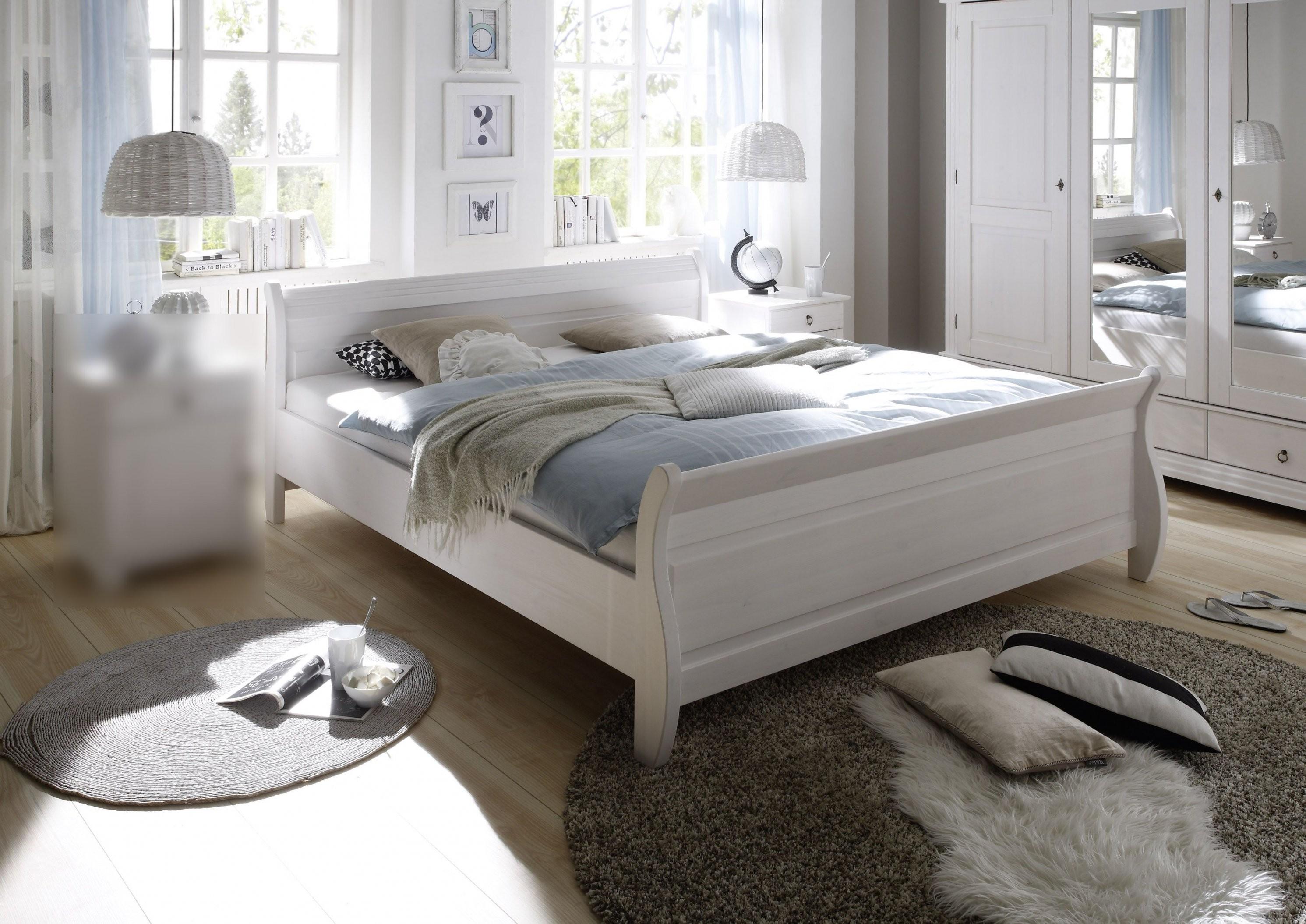 Bett 180 X 200 Landhaus Massiv Kiefer Weiss Mit Maserung Woody 62 von Bett Landhausstil 180X200 Bild