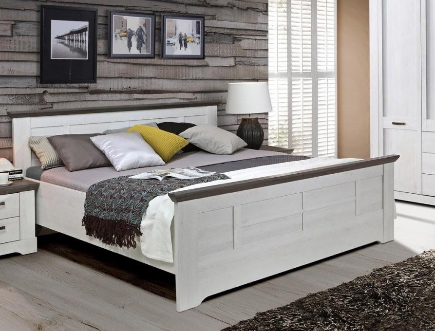 Bett 180X200 Cm Weiß Grau Schneeeiche Doppelbett Komfortbett von Bett 180X200 Grau Photo
