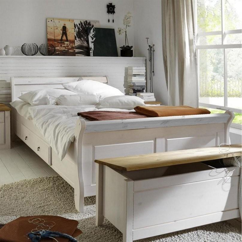 Bett 200X200 2 Schubladen Kiefer Massiv Weiß Lasiert von Bett Mit Schubladen 200X200 Bild