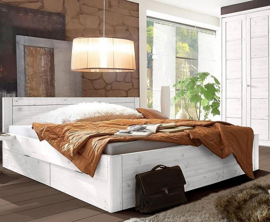 Bett 200X200 4 Schubladen Komforthöhe 45Cm Kiefer Massiv Weiß Lasiert von Bett Mit Schubladen 200X200 Bild