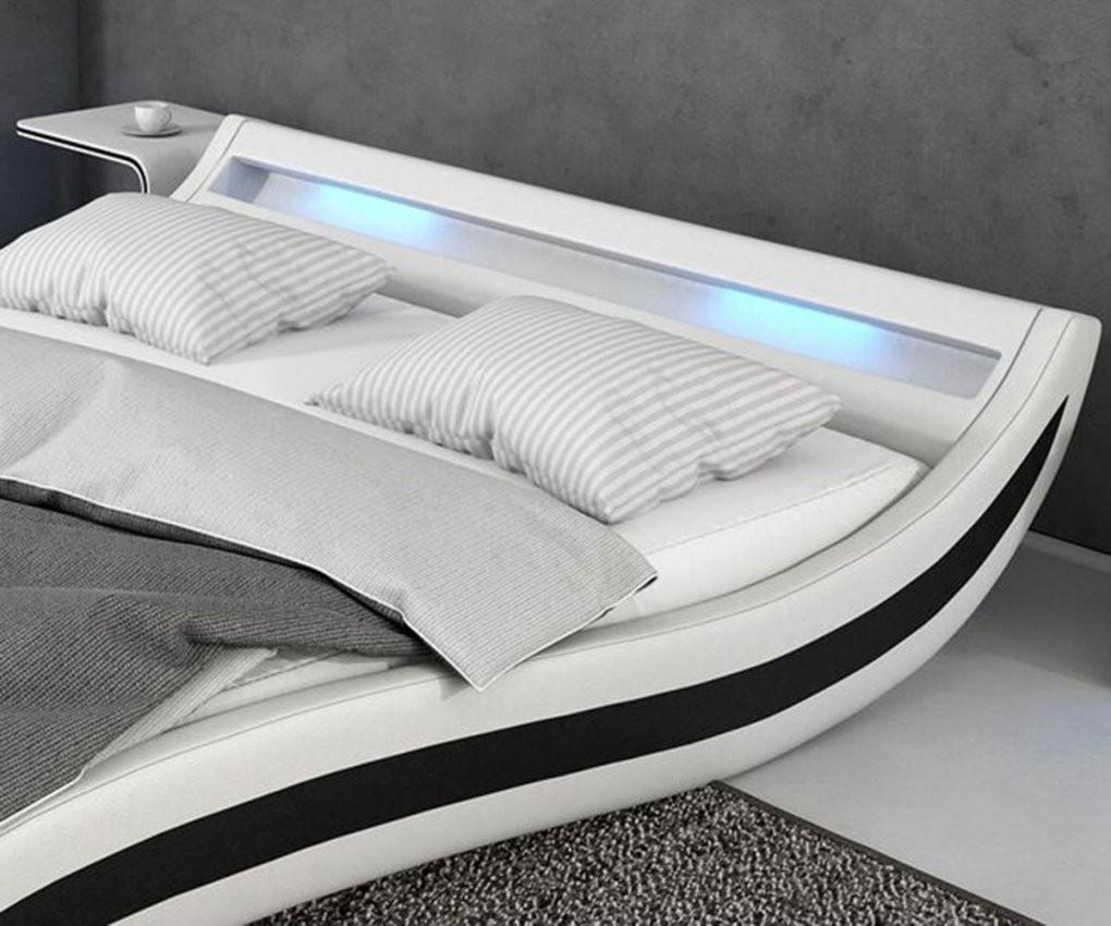 Bett Adonia Weiss Schwarz 140X200 Cm Mit Led Beleuchtung Polsterbett von Polsterbett 140X200 Weiß Bild