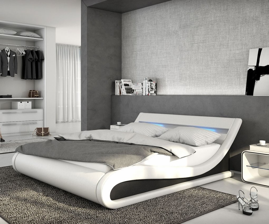 Bett Belana Weiss Schwarz 140X200 Cm Mit Led Beleuchtung Polsterbett von Moderne Betten 140X200 Photo