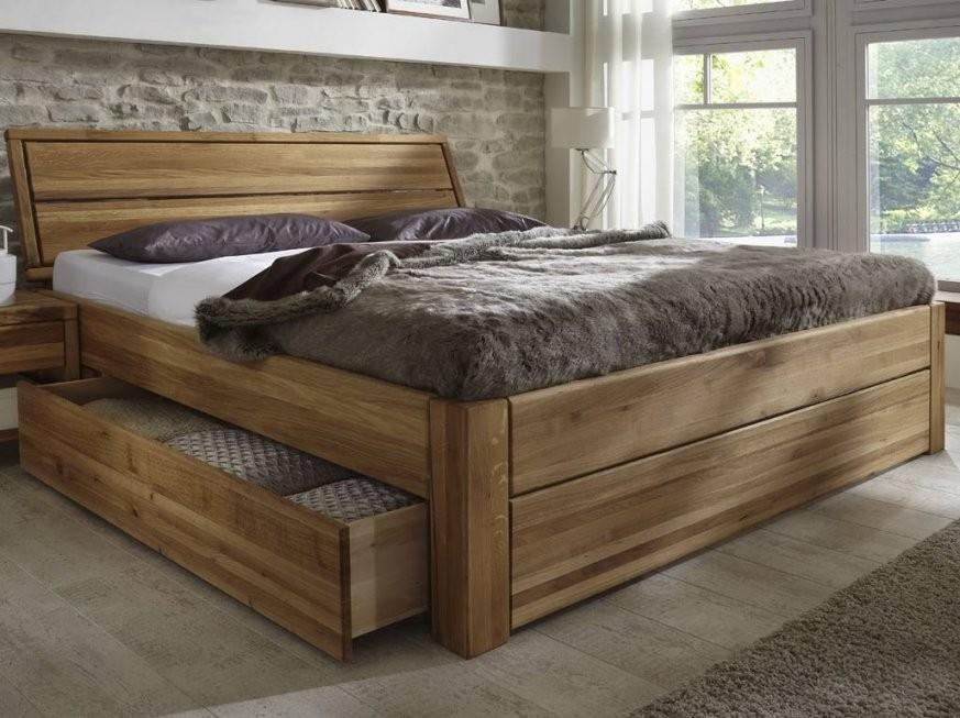 Bett Eiche Massiv Easy Sleep Schubläden Und Konforthöhe 180X200Cm von Hohes Bett 180X200 Bild