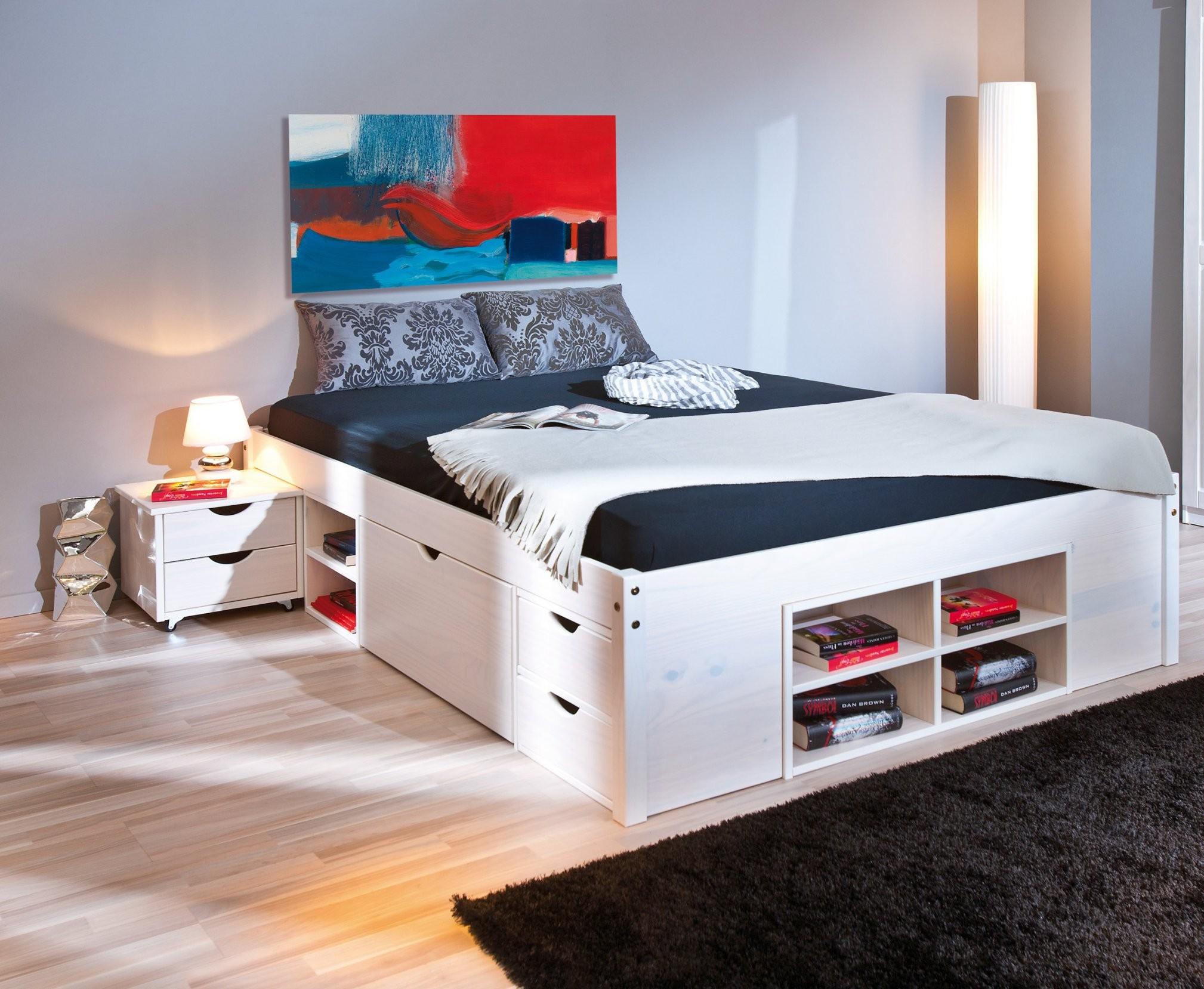 Bett Funktionsbett 140 X 200 Cm Massiv Kiefer Weiss Woody 14800011 von Bett 140X200 Weiß Holz Photo