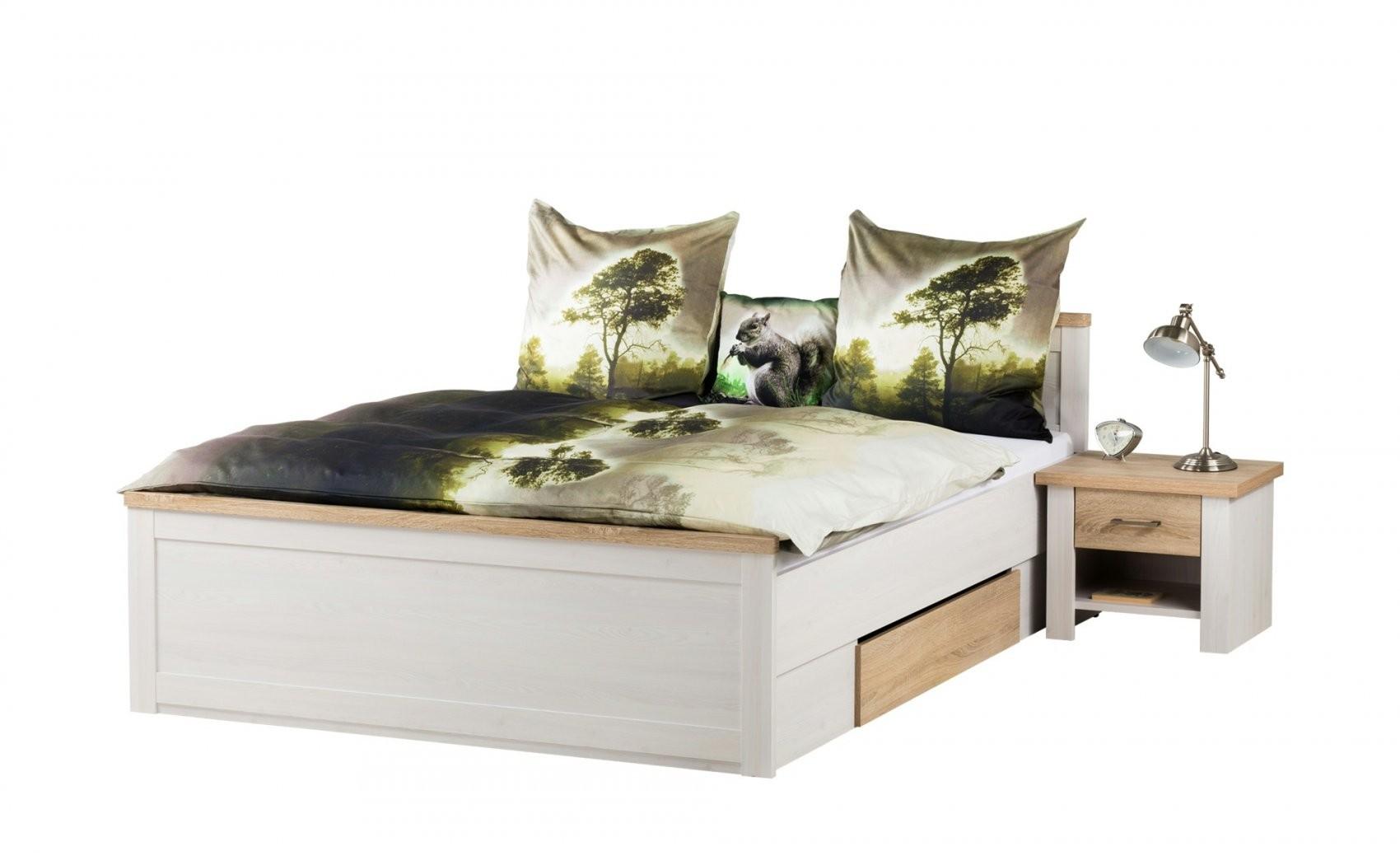 Bett Mit 2 Nachtkommoden 180X200  Weiß  Eiche (Optik)  Landhaus von Höffner Betten 140X200 Photo