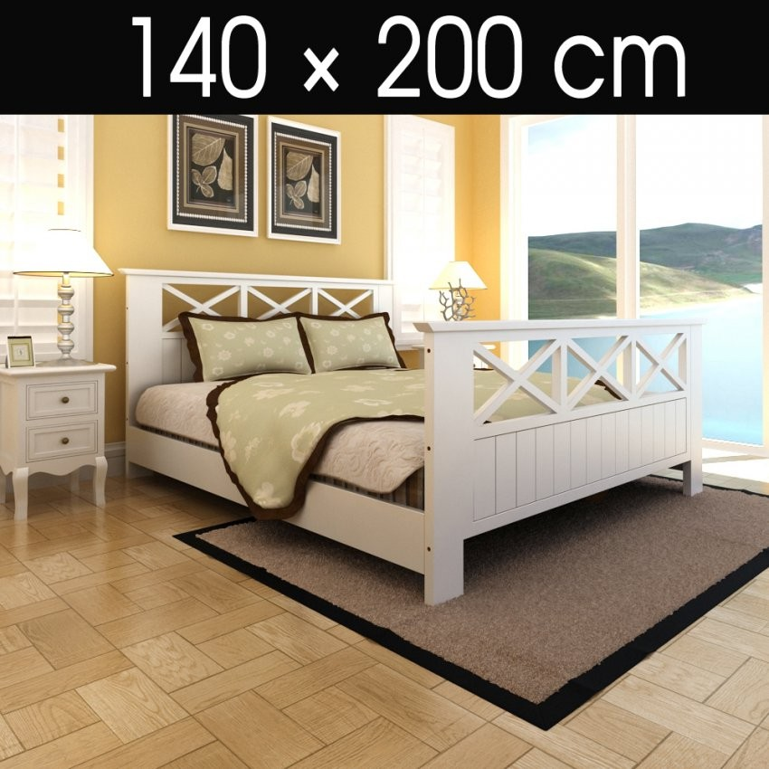 Bett Mit Lattenrost 140X200 Holzbett Doppelbett Bettgestell Holz von Bettgestell 140X200 Weiß Holz Bild