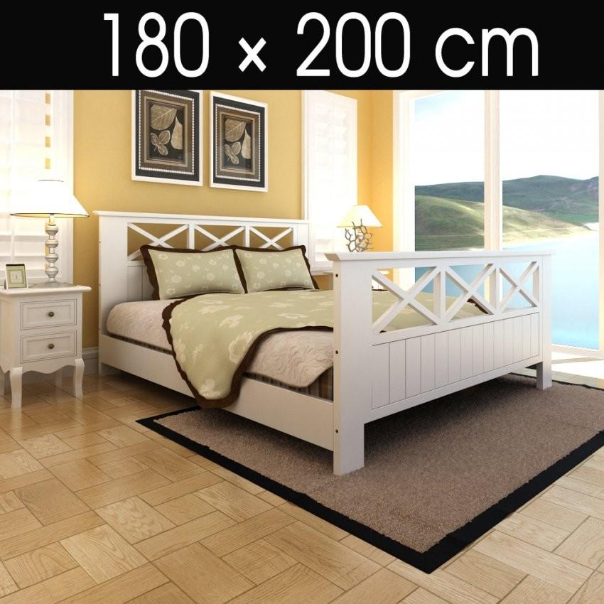 Bett Mit Lattenrost 180X200 Holzbett Doppelbett Bettgestell Holz von Bett Weiß 180X200 Holz Bild