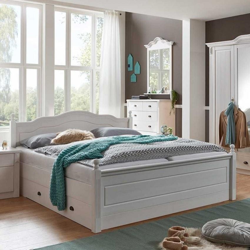 Bett Mit Stauraum Aus Kiefernholz In Weiß Lackiert 180X200  Laburita von Bett Mit Stauraum 180X200 Photo