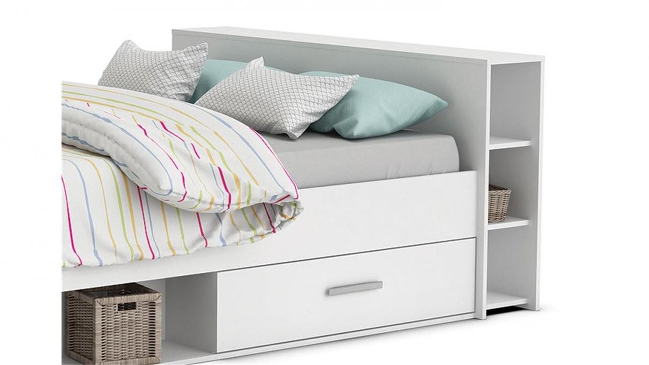 Bett Pocket Einzelbett In Perle Weiß Dekor 140X200 Cm von Weißes Bett Mit Schubladen Bild