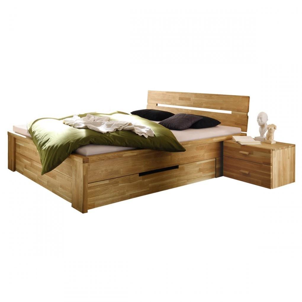 Bett Roros 160X200 Mit Schubladen In Wildeiche Massiv Geölt von Bettgestell 160X200 Holz Bild