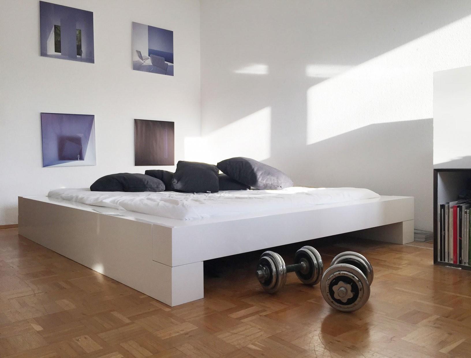 Bett Somnium – Minimalistisches Designbett Von Rechteck von Bett 180X200 Weiß Hochglanz Bild