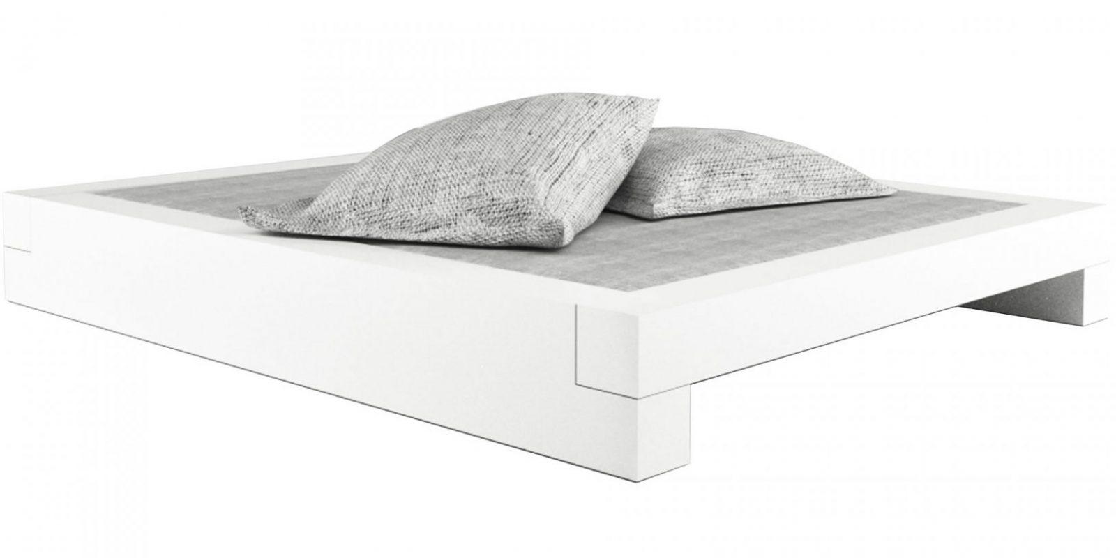Bett Somnium – Minimalistisches Designbett Von Rechteck von Bettgestell 160X200 Weiß Bild