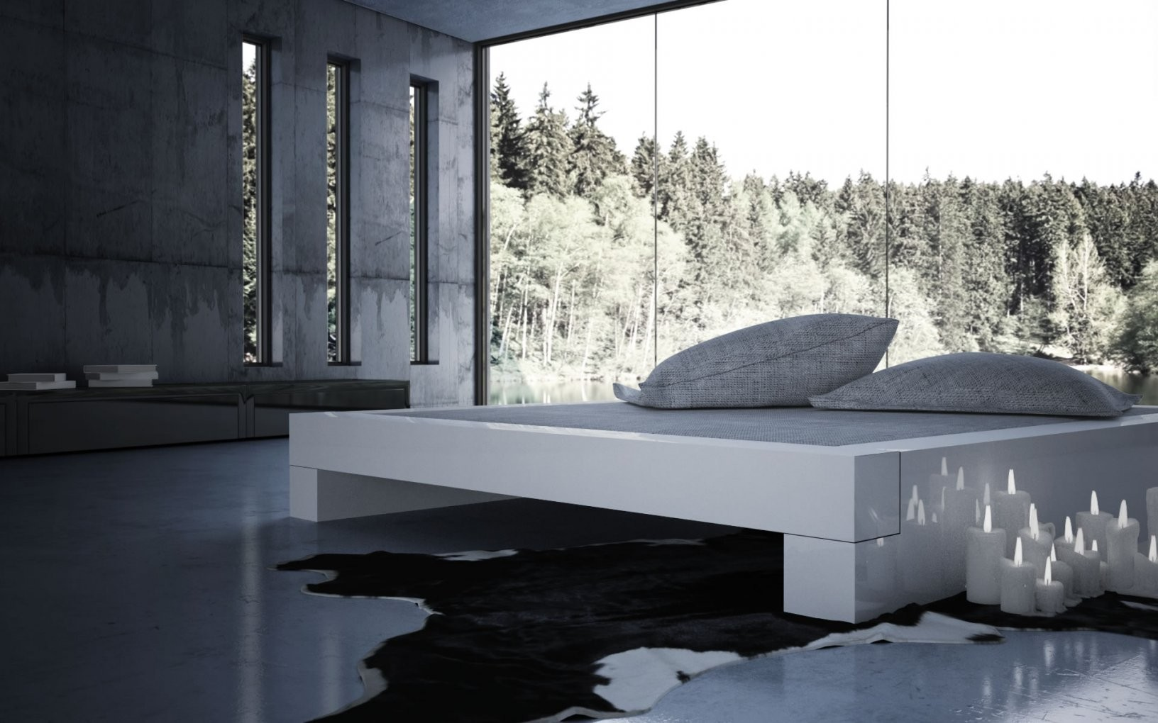 Bett Somnium – Minimalistisches Designbett Von Rechteck von Modernes Bett 180X200 Photo