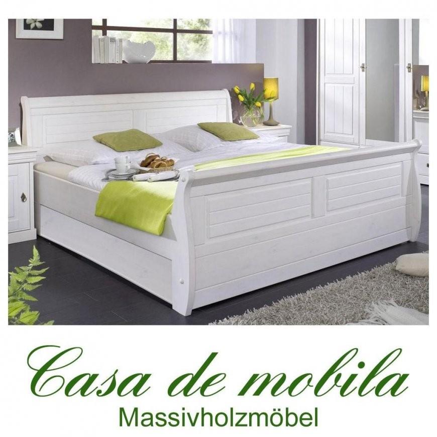 Bettgestell Bett 100X200 Weiss Holz Kiefer Massiv Landhaus Neapel von Bett Landhausstil Weiß 180X200 Photo