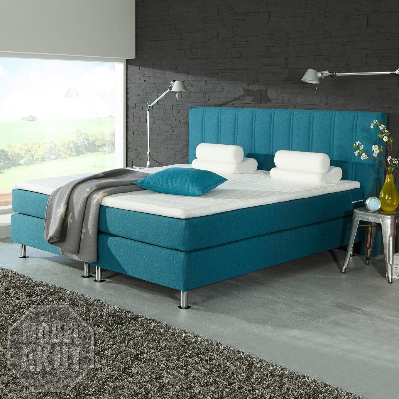 Boxspring Bett Ohio Doppelbett Hotelbett In Petrol Blau Inkl Topper von Bett Topper 180X200 Bild