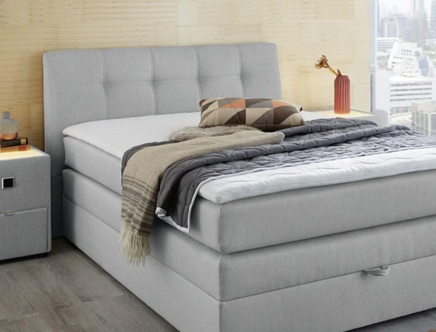 Boxspringbett Amalina 140X200 Grau Mit Bettkasten Topper Hotelbett von Boxspringbett Grau 140X200 Bild