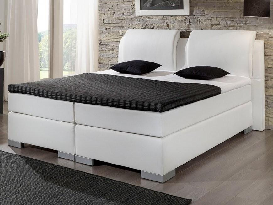 Boxspringbett Luxus 160X200 Cm Topper Lederlook Weiß  Kaufen Bei von Boxspring Bett Weiß 160X200 Bild