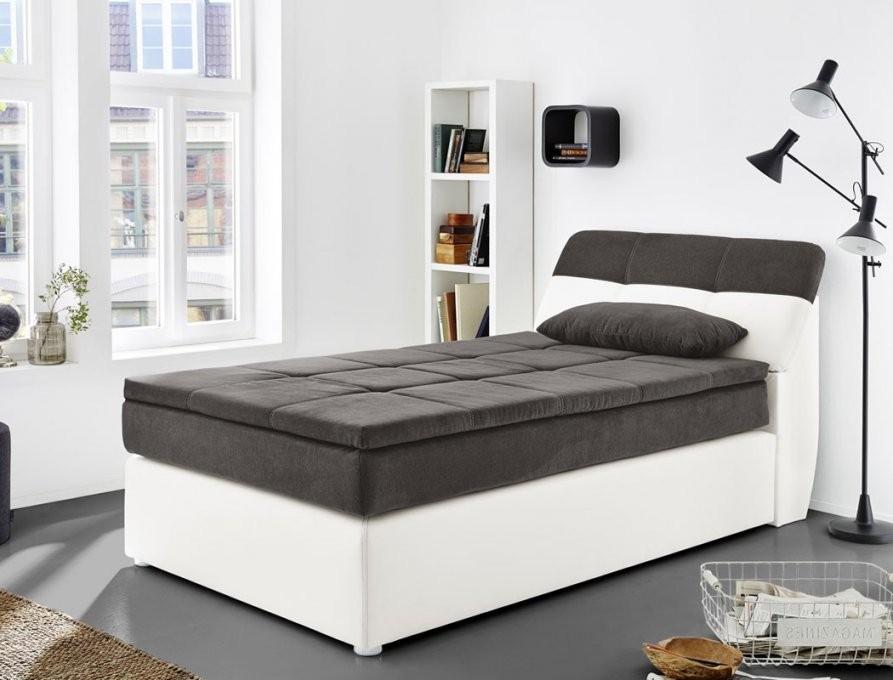 Boxspringbett Odett 120X200 Grau Weiß Mit Topper + Kissen von Moderne Betten 120X200 Bild