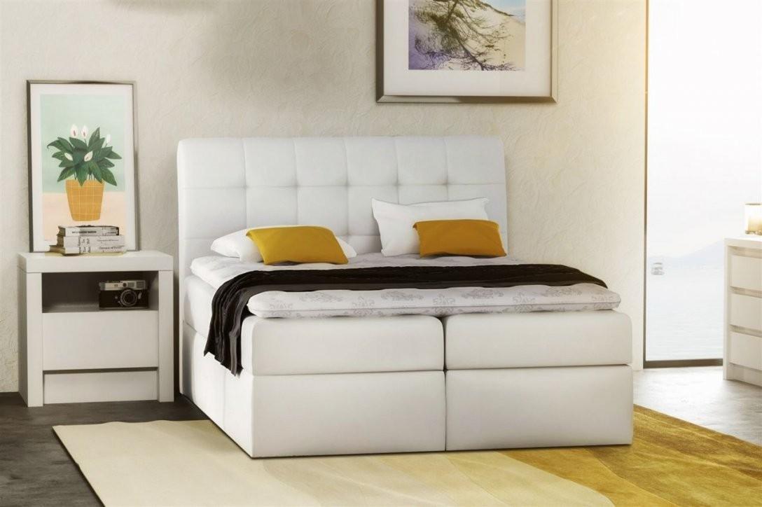 Boxspringbett Schlafzimmerbett Turin Kunstleder Weiss 160X200 Cm von Boxspring Bett Weiß 160X200 Bild