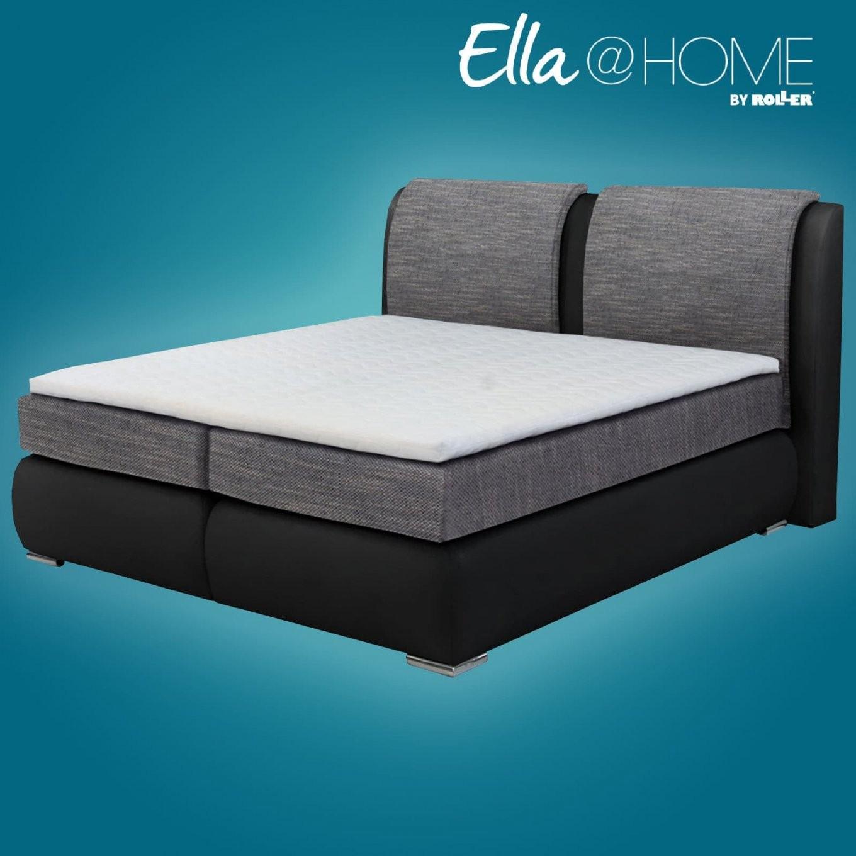 boxspringbett st tropez grau kaltschaumtopper 140x200 cm h4 von roller boxspringbett 140x200. Black Bedroom Furniture Sets. Home Design Ideas