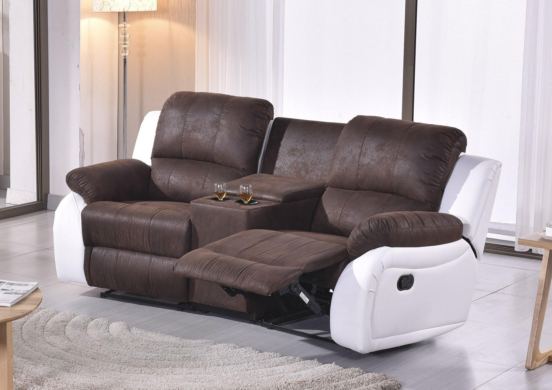 Braunweißes Mikrofaser Fernsehsofa Kinosofa Sofort  Mapo Möbel von Kino Sofa 2 Sitzer Photo