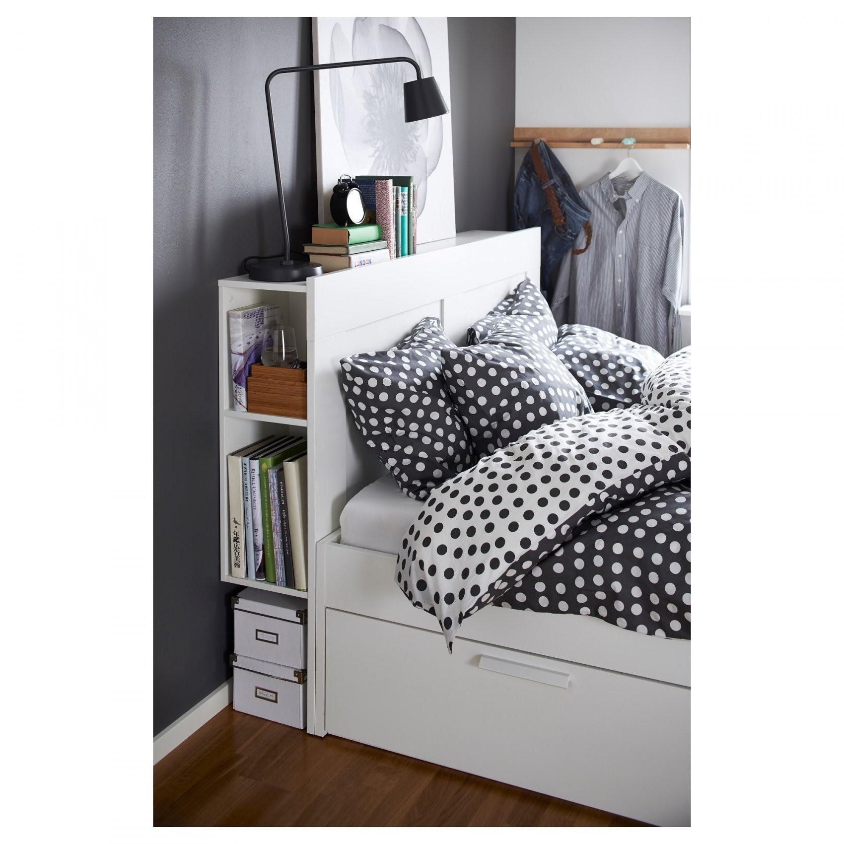 Brimnes Bedframe Met Opberger En Bedeinde  140X200 Cm  Wit  Ikea von Ikea Brimnes Bett 140X200 Photo