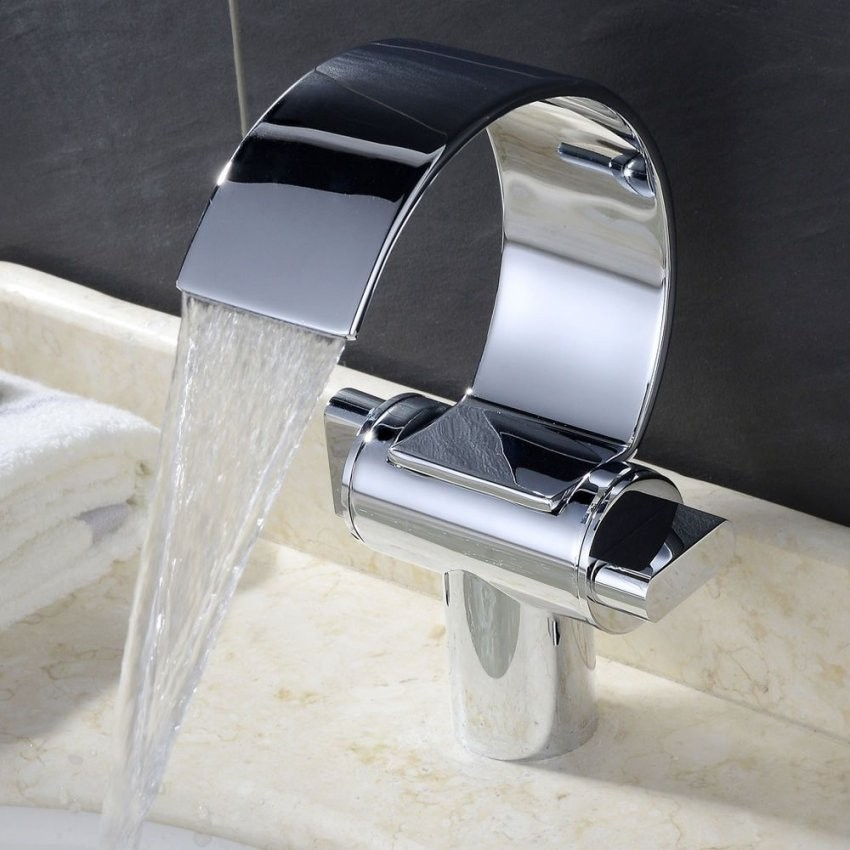 Design Wasserfall Wasserhahn Armatur Waschtischarmatur Waschbecken von Armatur Für Kleines Waschbecken Bild