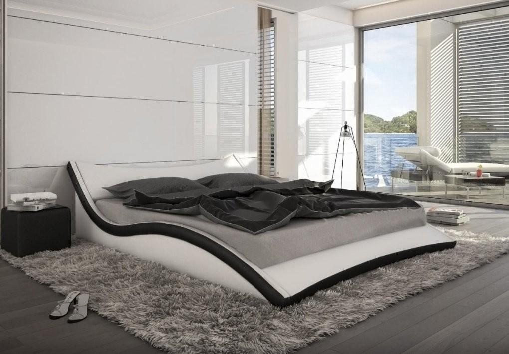 Designer Leder Bett  Polsterbett Neapel Schwarz Oder Weiss von Bett 200X200 Günstig Photo