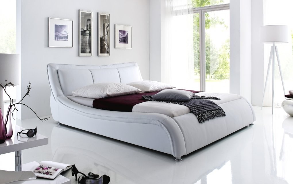 Designer Lederbett Polsterbett Weiss Od Schwarz Wellenförmiges von Moderne Betten 120X200 Photo