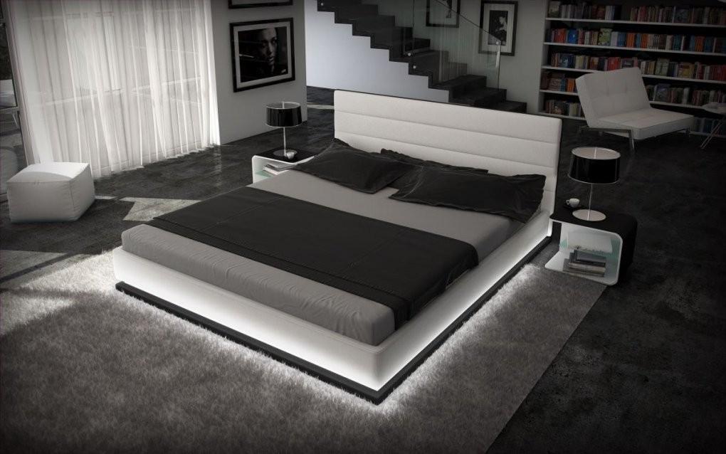 Designerbett Moonlight Weiss Schwarz 180X200 Mit Led Beleuchtung von Bett Mit Led Beleuchtung 180X200 Bild