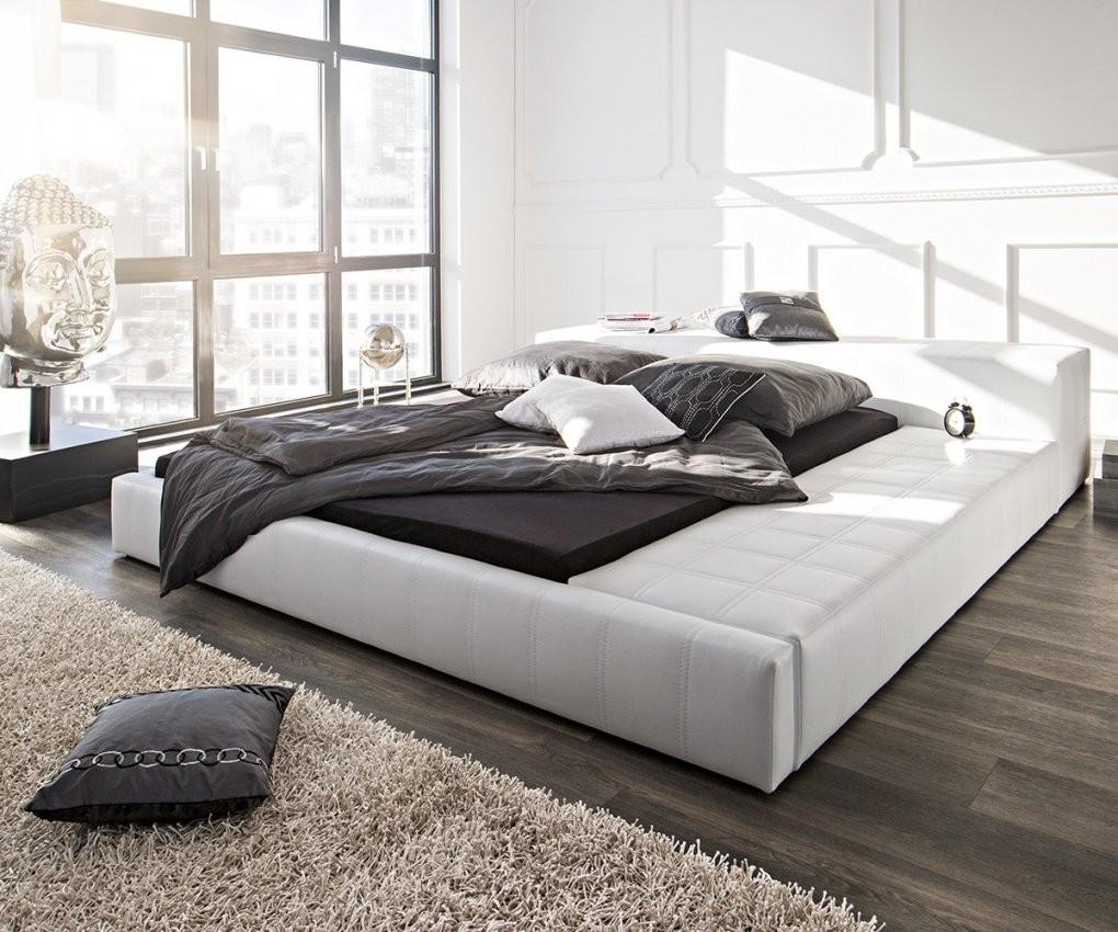Doppelbett Edina Weiss 180X200 Gepolstert Abgesteppt Mit Ablagefläche von Modernes Bett 180X200 Bild
