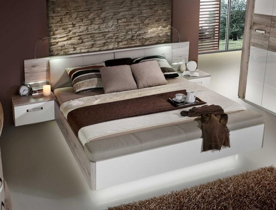 Doppelbett Rubio 1 Sandeiche Weiß Hochglanz 180X200 Bett 2X Nako Led von Bett 180X200 Weiß Hochglanz Photo